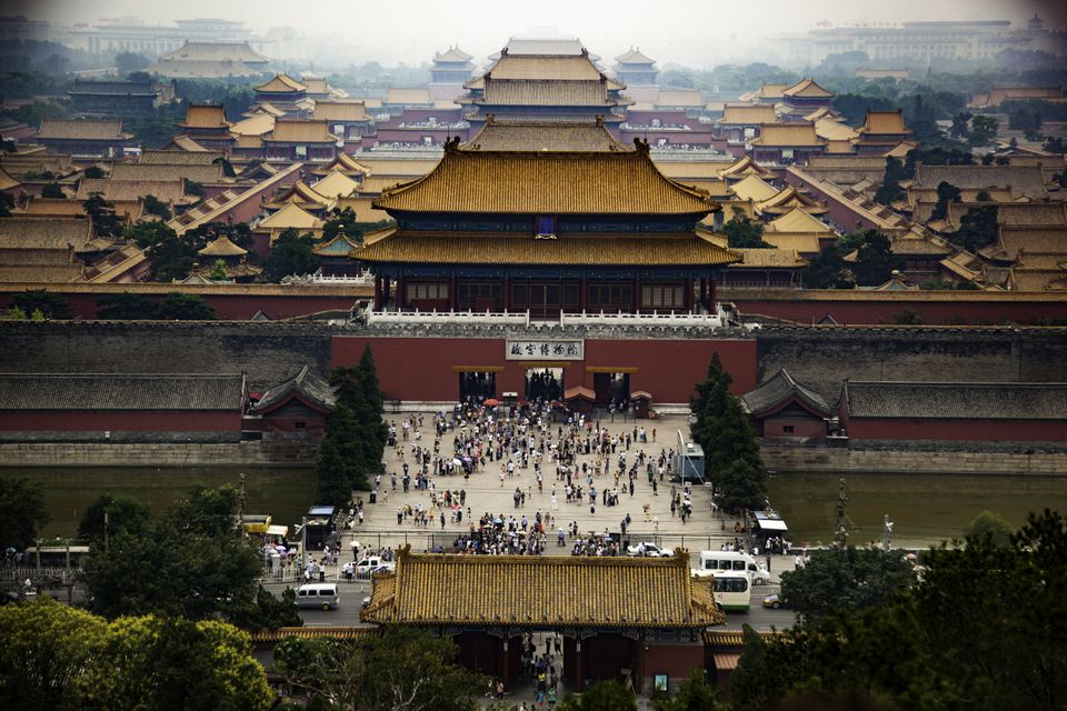 View from above of the Forbidden City in Beijing, China