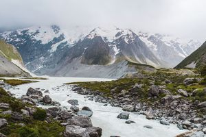 Snow topped mountains with a river curving through them