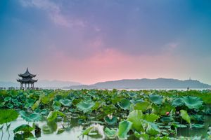Pink sky over Hangzhou Jixian Pavilion in China in September