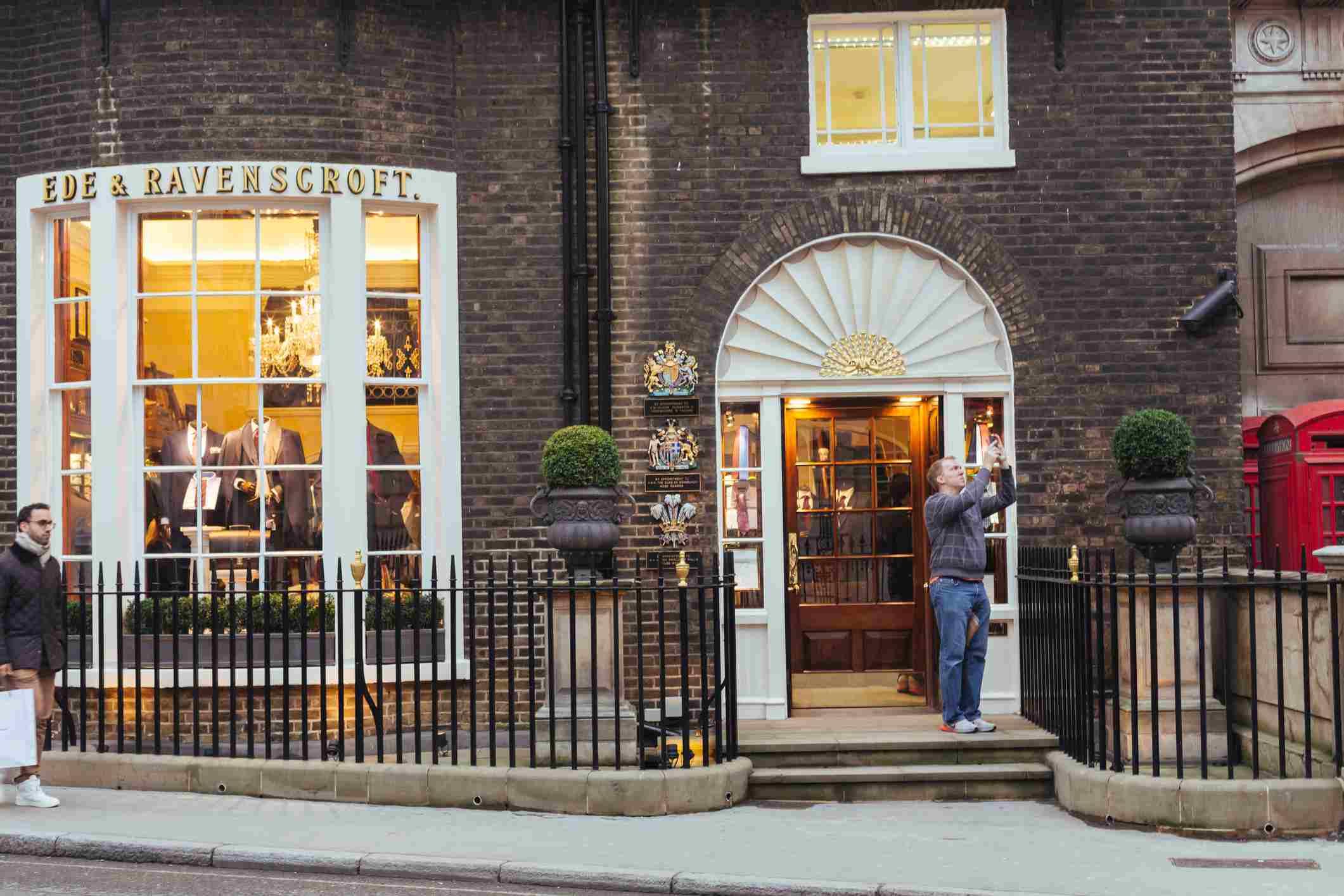 Ede & Ravenscroft tailors shop on Savile Row, Mayfair London