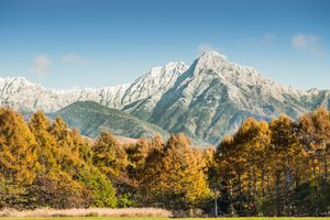 Mountain covering by snow during autumn in Japan