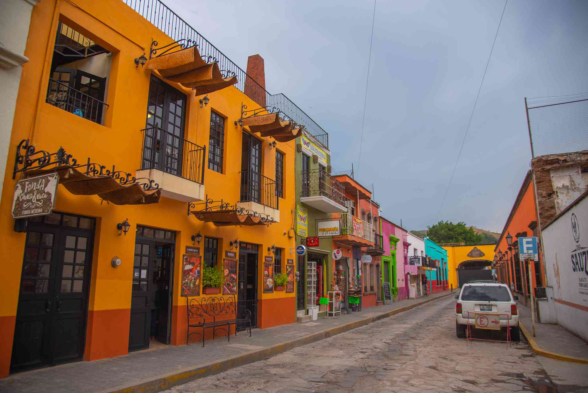 Colorful buildings in Tequila, Mexico