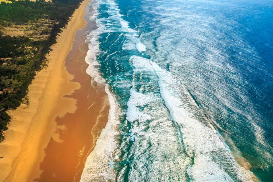 Aerial view of Sodwana Bay beach and ocean, South Africa