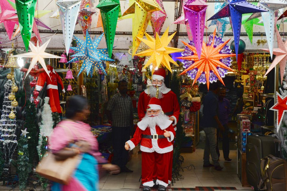 Christmas decorations in India.