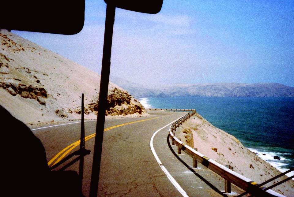 View from inside a bus on the Pan-American Highway in Southern Peru.