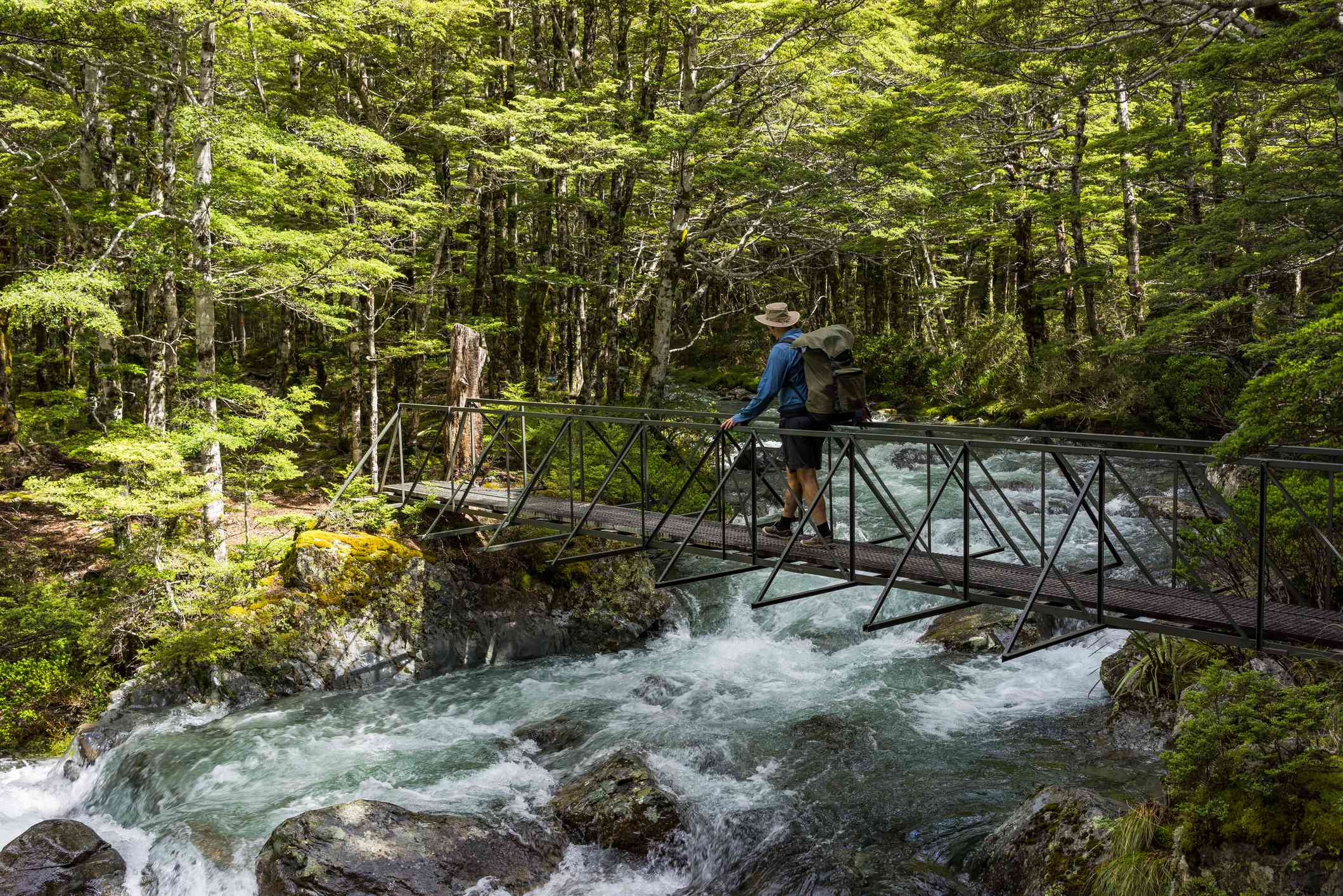 Hombre cruzando el arroyo, el circuito Travers Sabine, el Parque Nacional Nelson Lakes, Nueva Zelanda