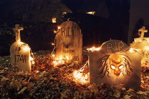 Lawn Decorated for Halloween, Montreal, Quebec