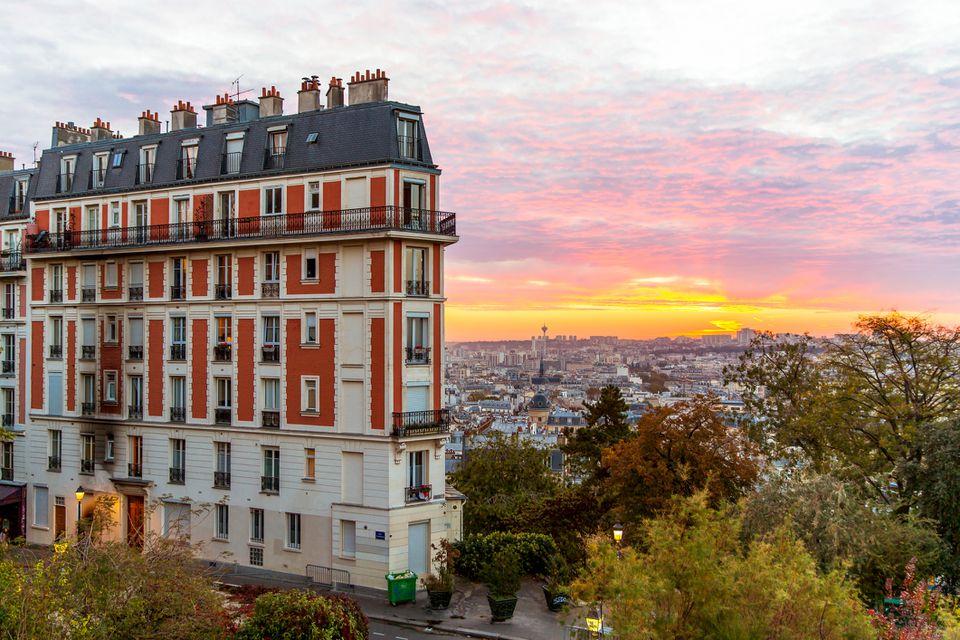 Sunrise and Paris skyline seen from Montmartre, Paris, France