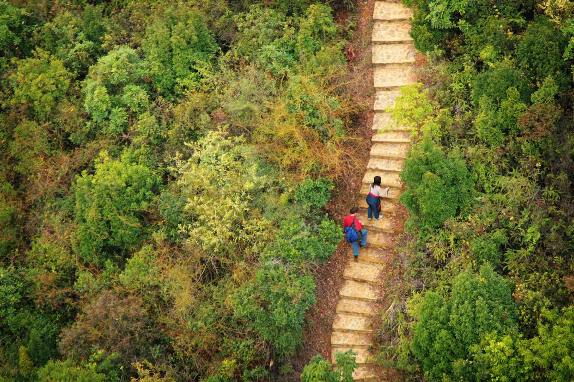 Hiking up Ngong Ping Trail, Hong Kong