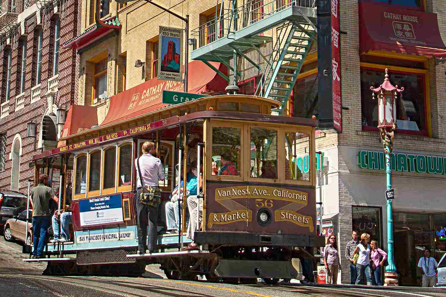 Cable Car in San Francisco Chinatown