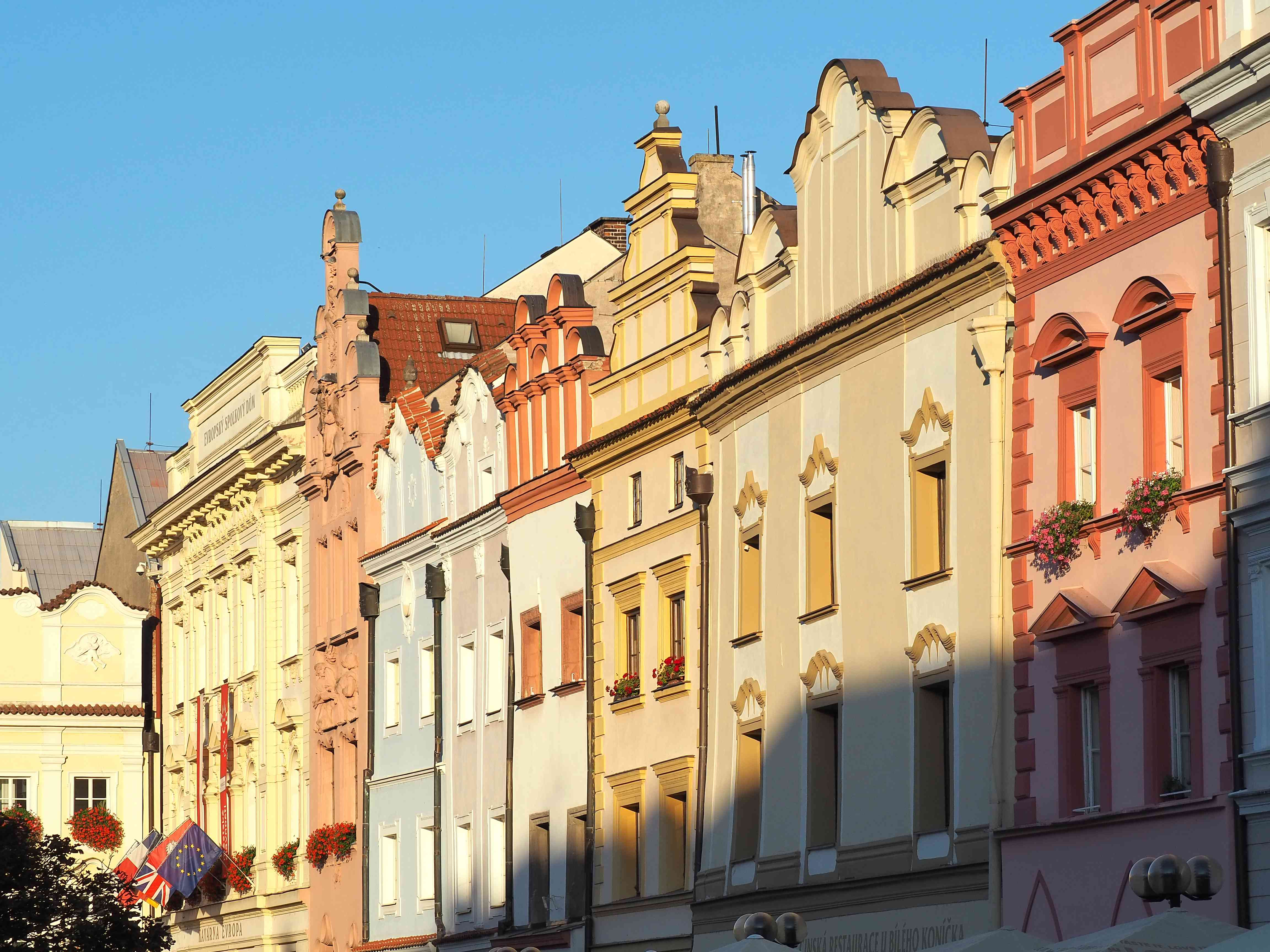 Pardubice, Czech Republic. The facades of the historical buildings at Perstynske square