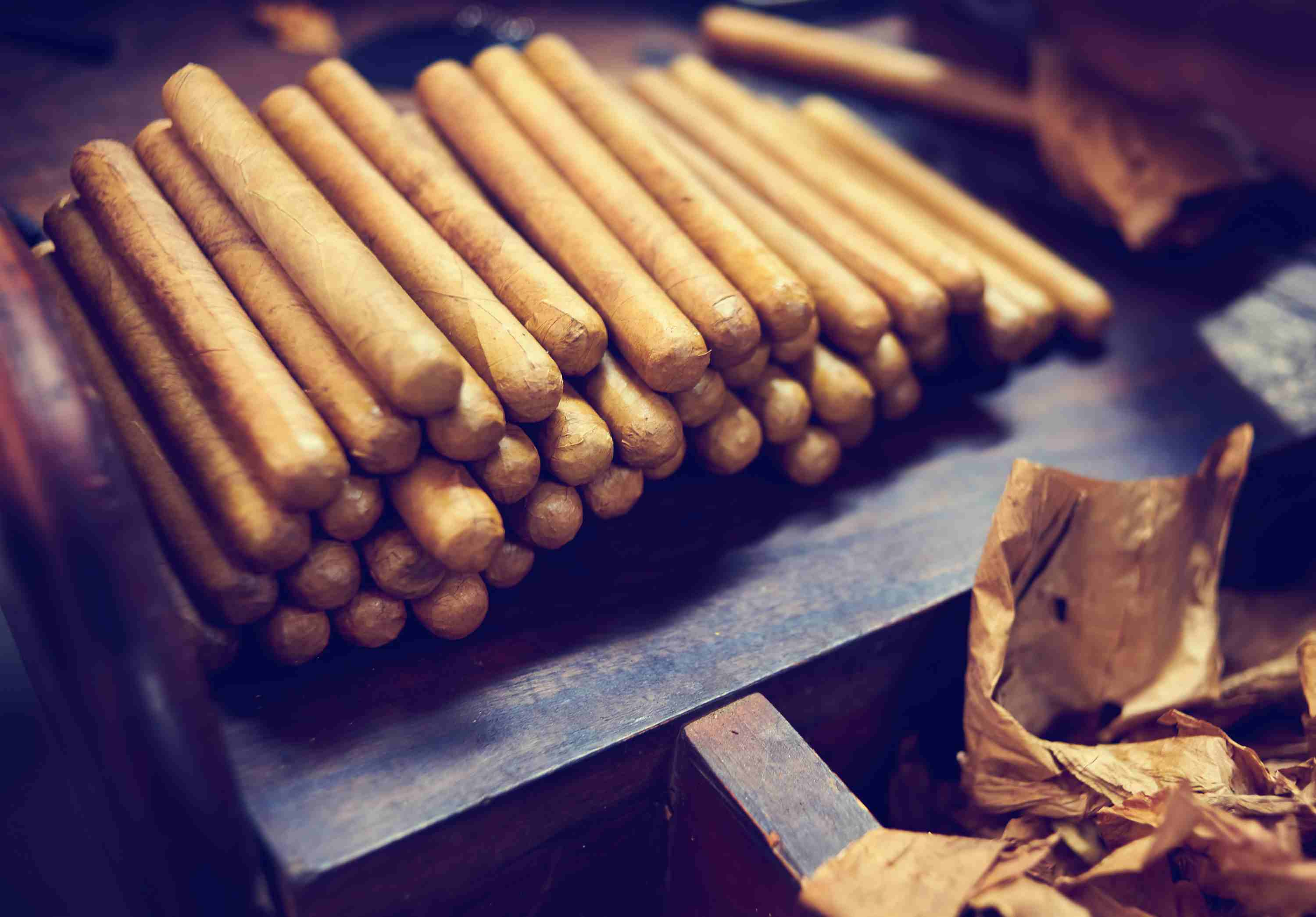 Stock of handmade cigars.Traditional manufacture of cigars. Dominican Republic