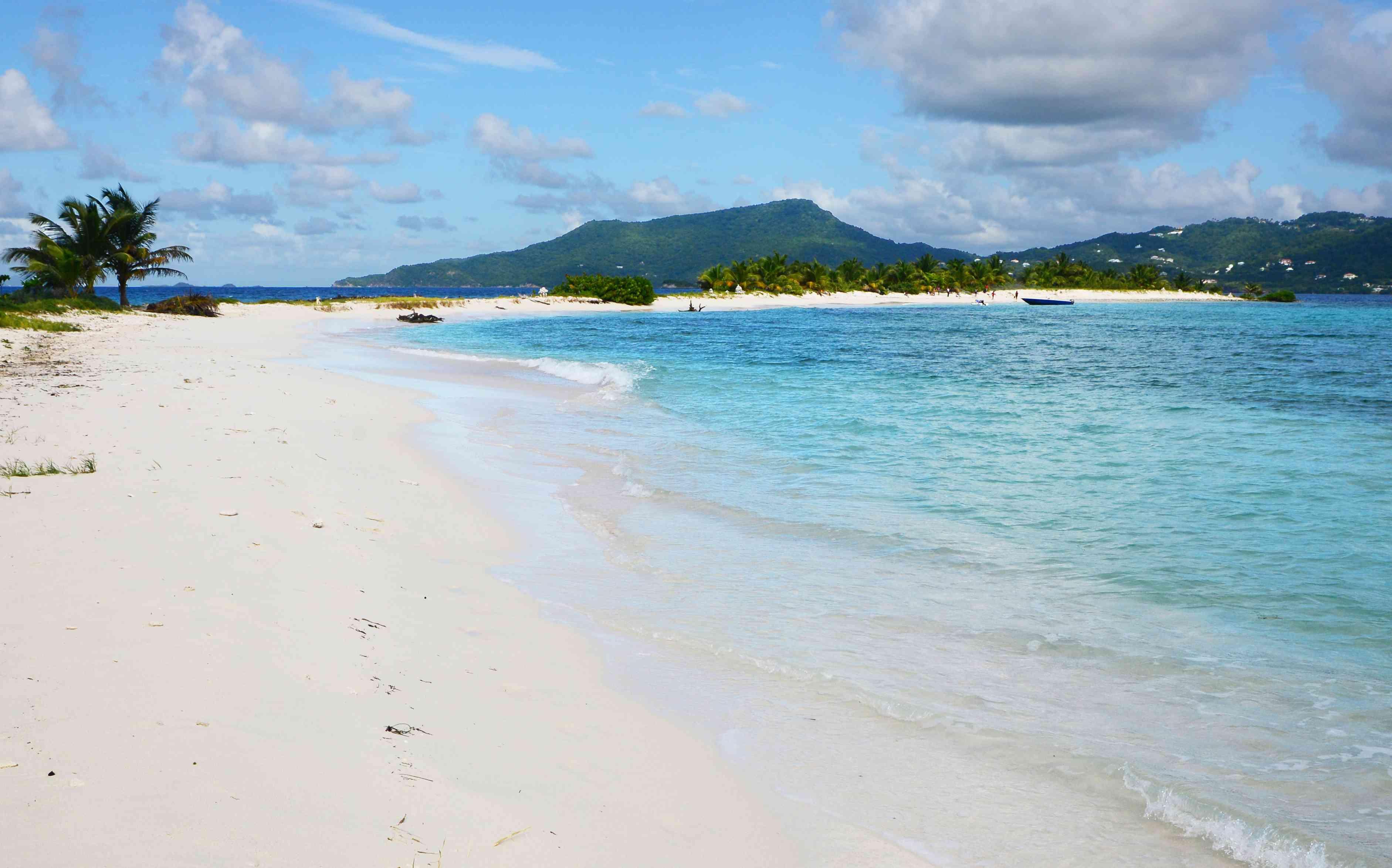 White sand Grande Anse Beach, Grenada, with bright blue waters