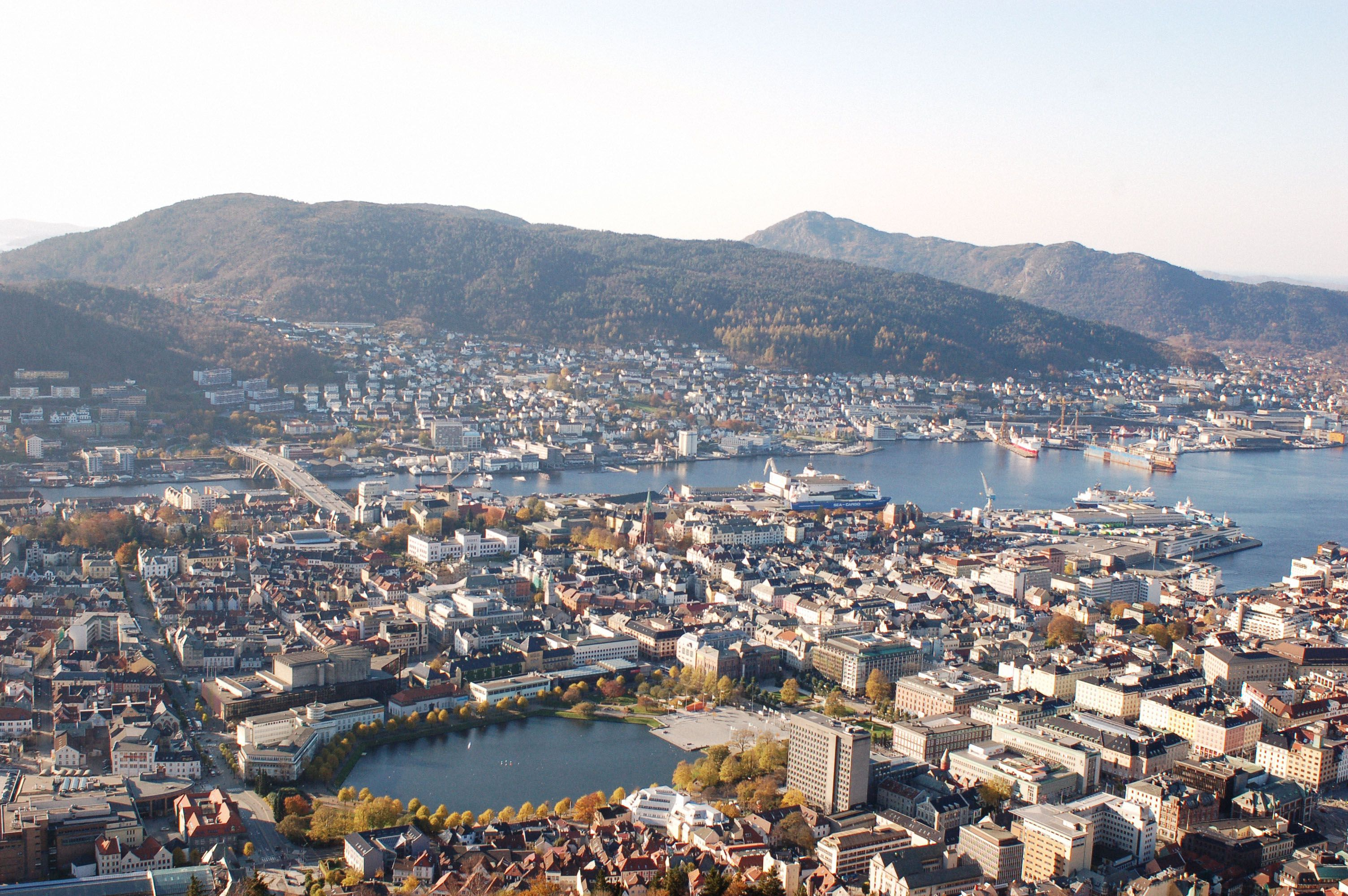 View of Bergen from top of the mountain