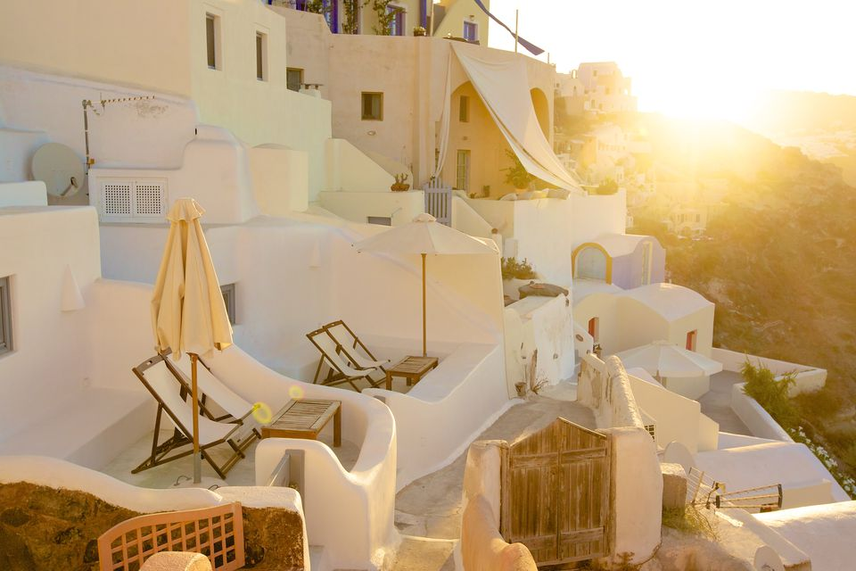 Morning sun light in Oia village, Santorini