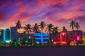 Ocean drive lit up during sunset