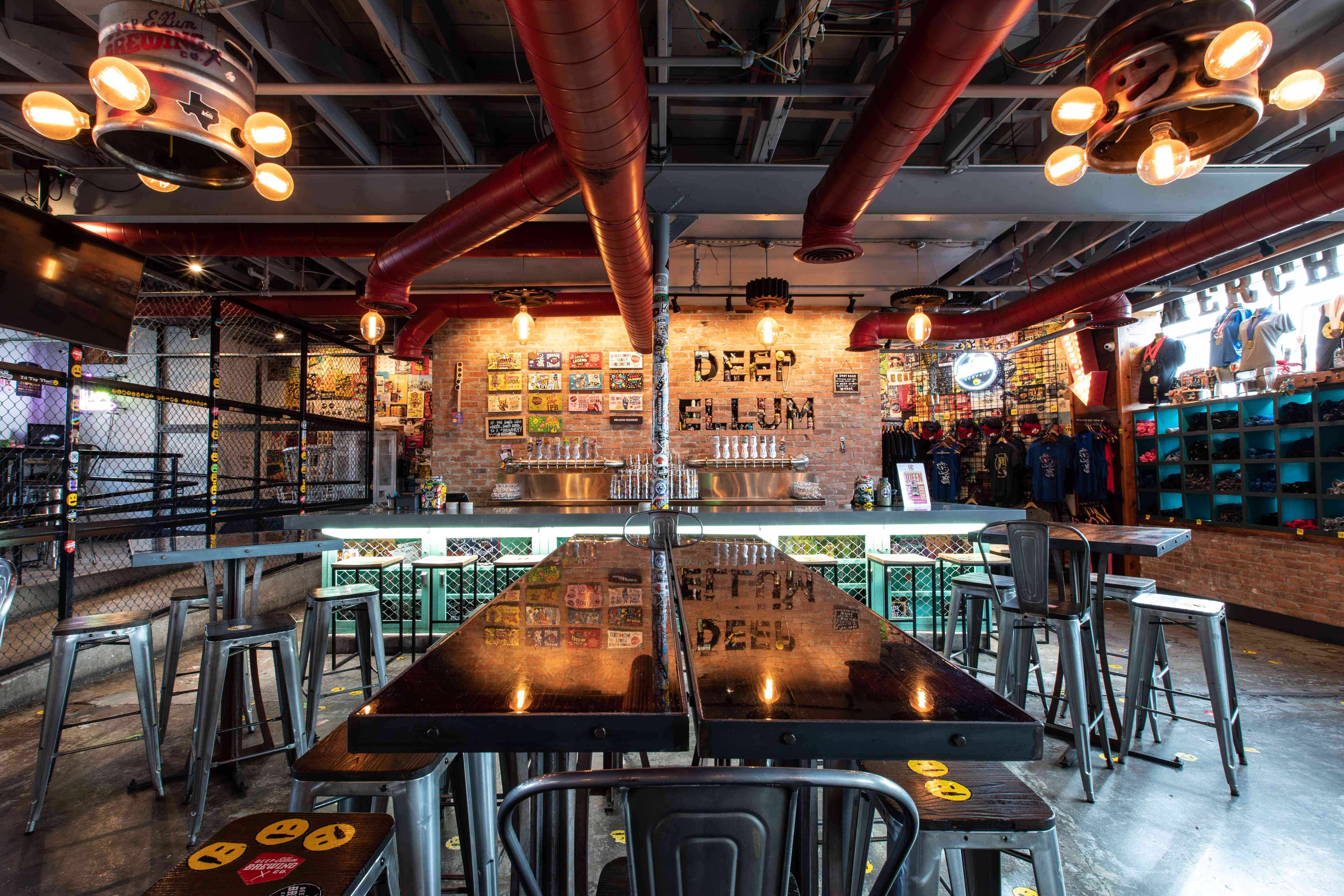 Interior of Deep Ellum Brewing company tap room with no one in it