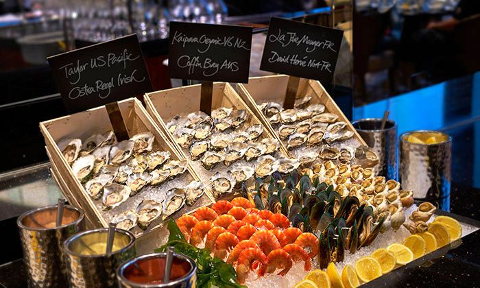 Display of chilled oysters and cold shellfish