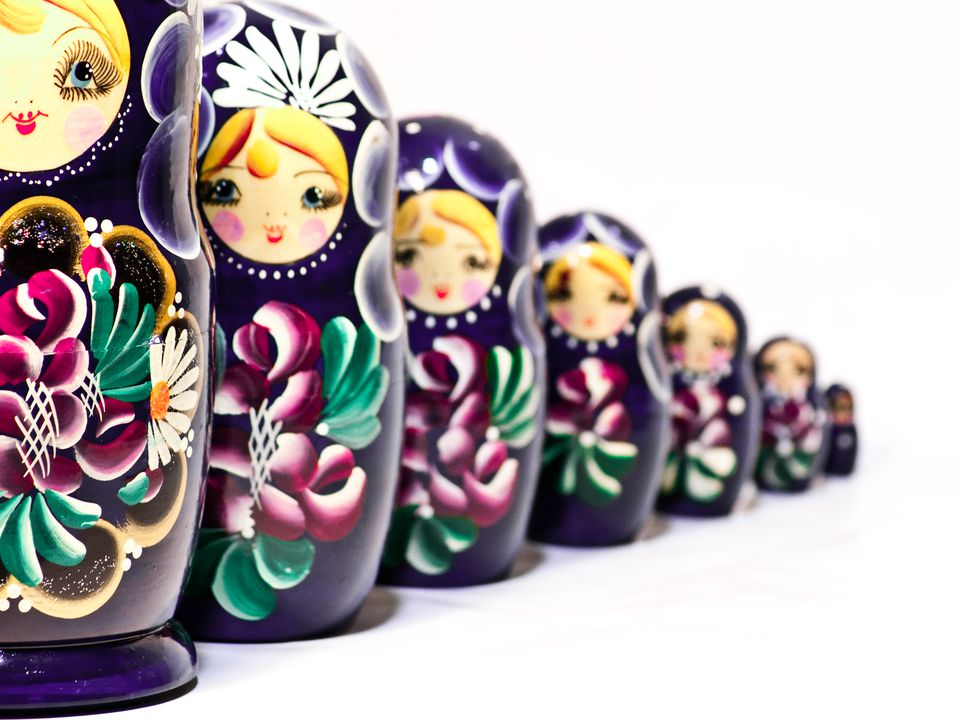 Purple Flowers Girls Russian Nesting Doll Babushka Matryoshka Stacking Dolls