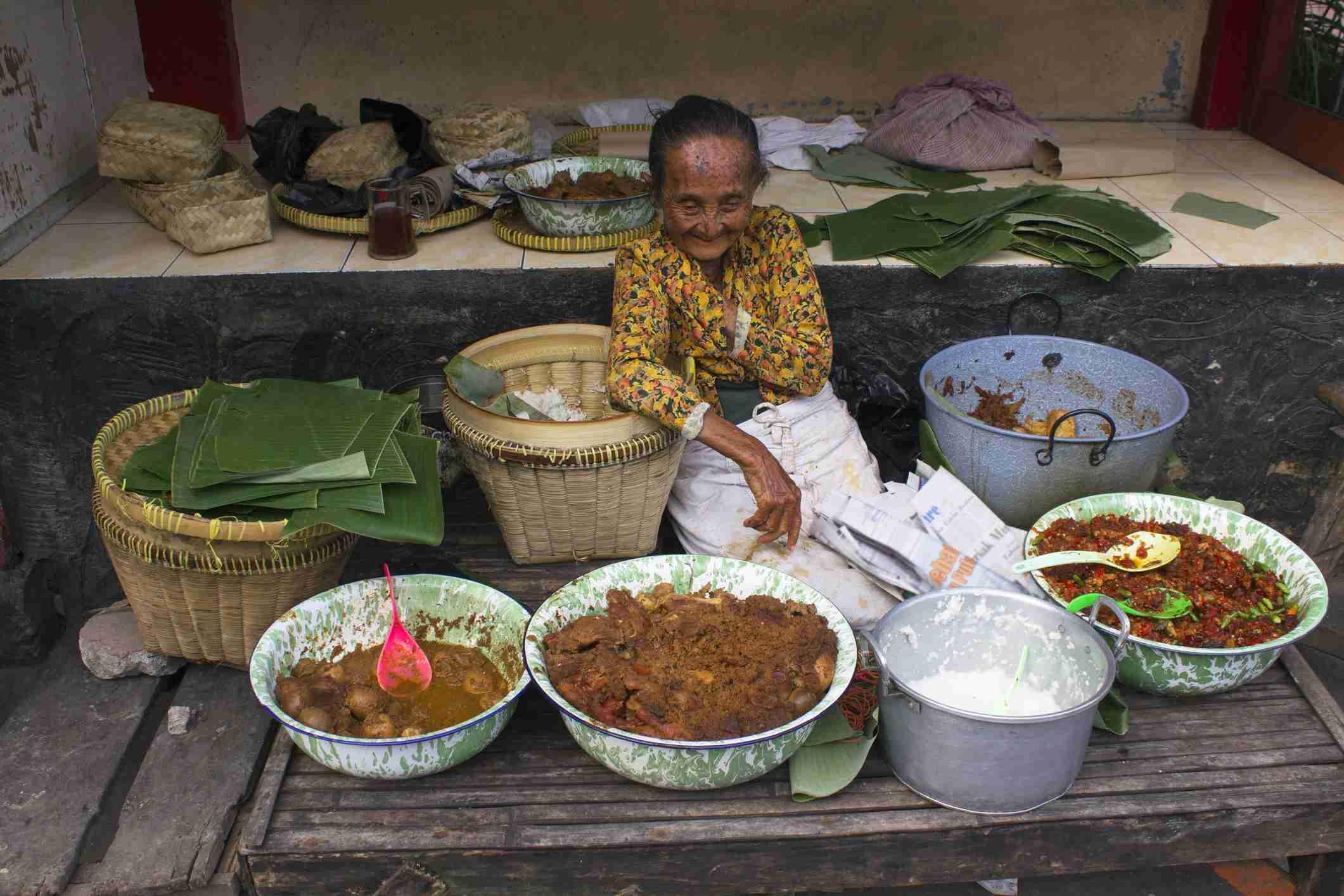 Gudeg seller in Yogyakarta, Indonesia