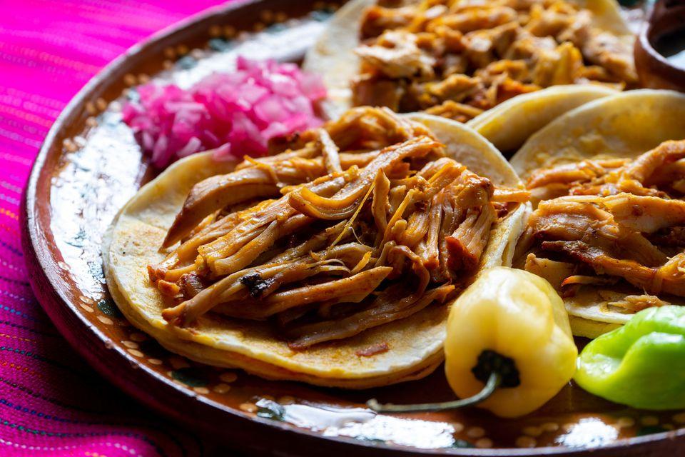 Cochinita pibil tacos, a Yucatecan dish