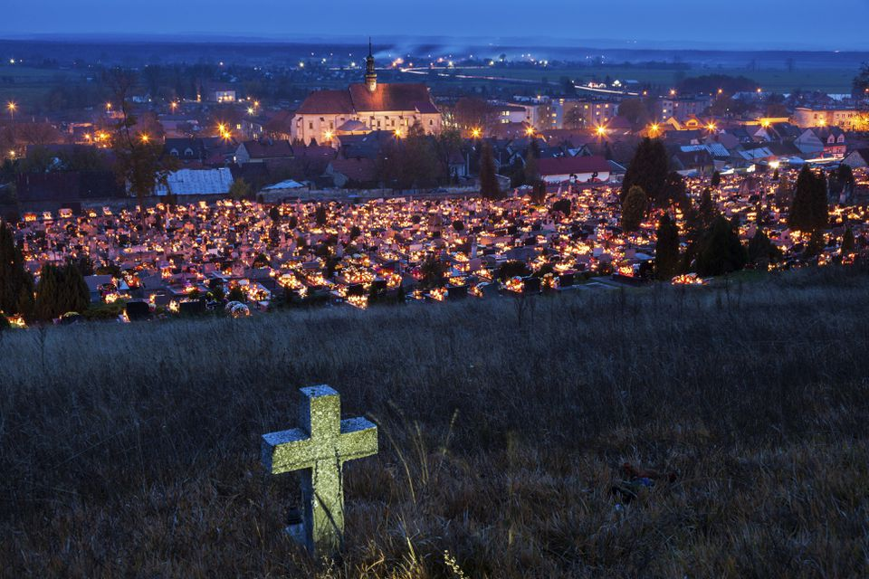 All Saints Day in Pinczow, Poland