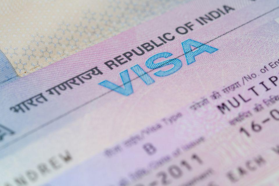 Vista macro de una visa de negocios india