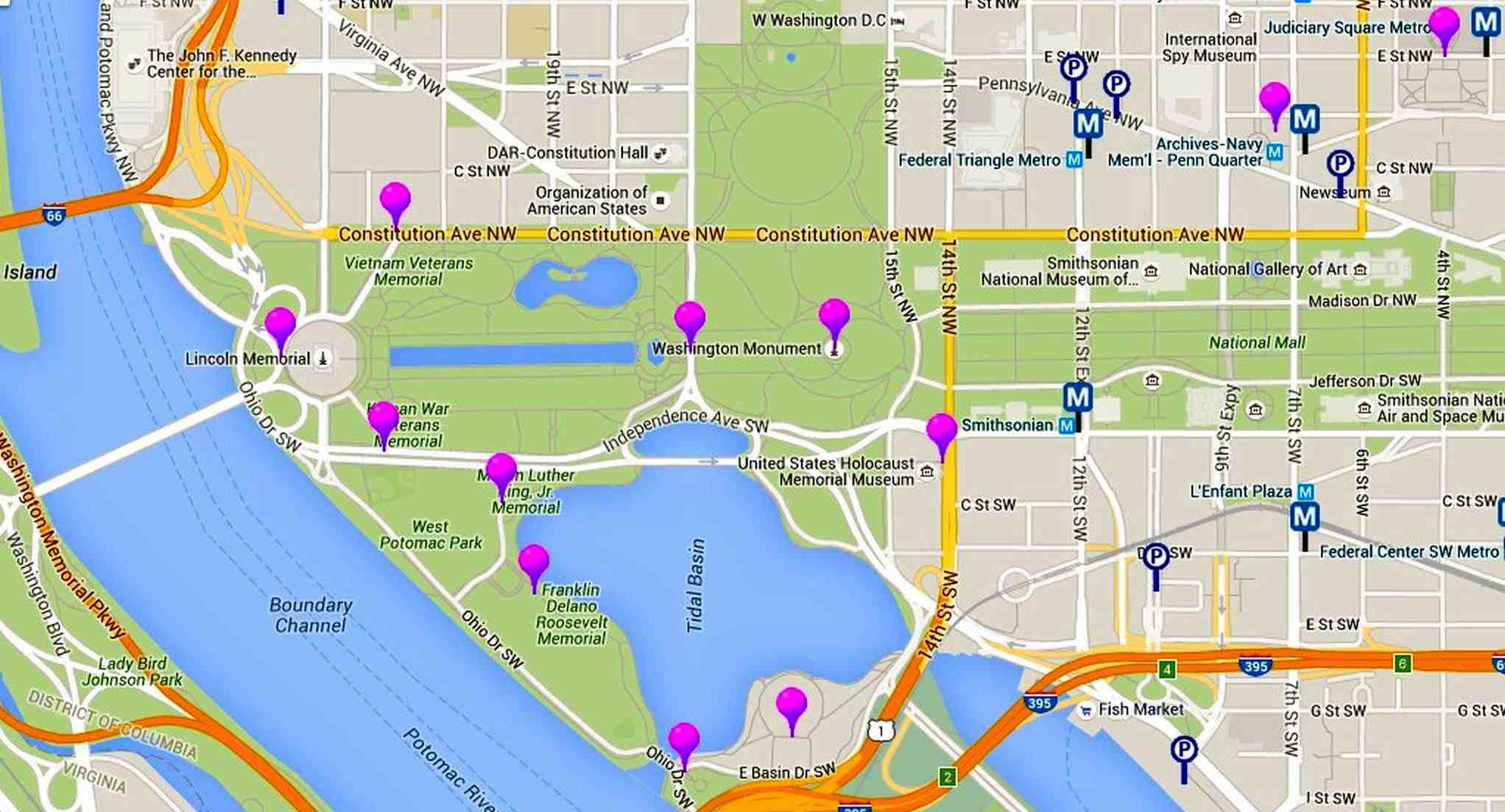 Cherry Blossoms Maps for Washington, DC
