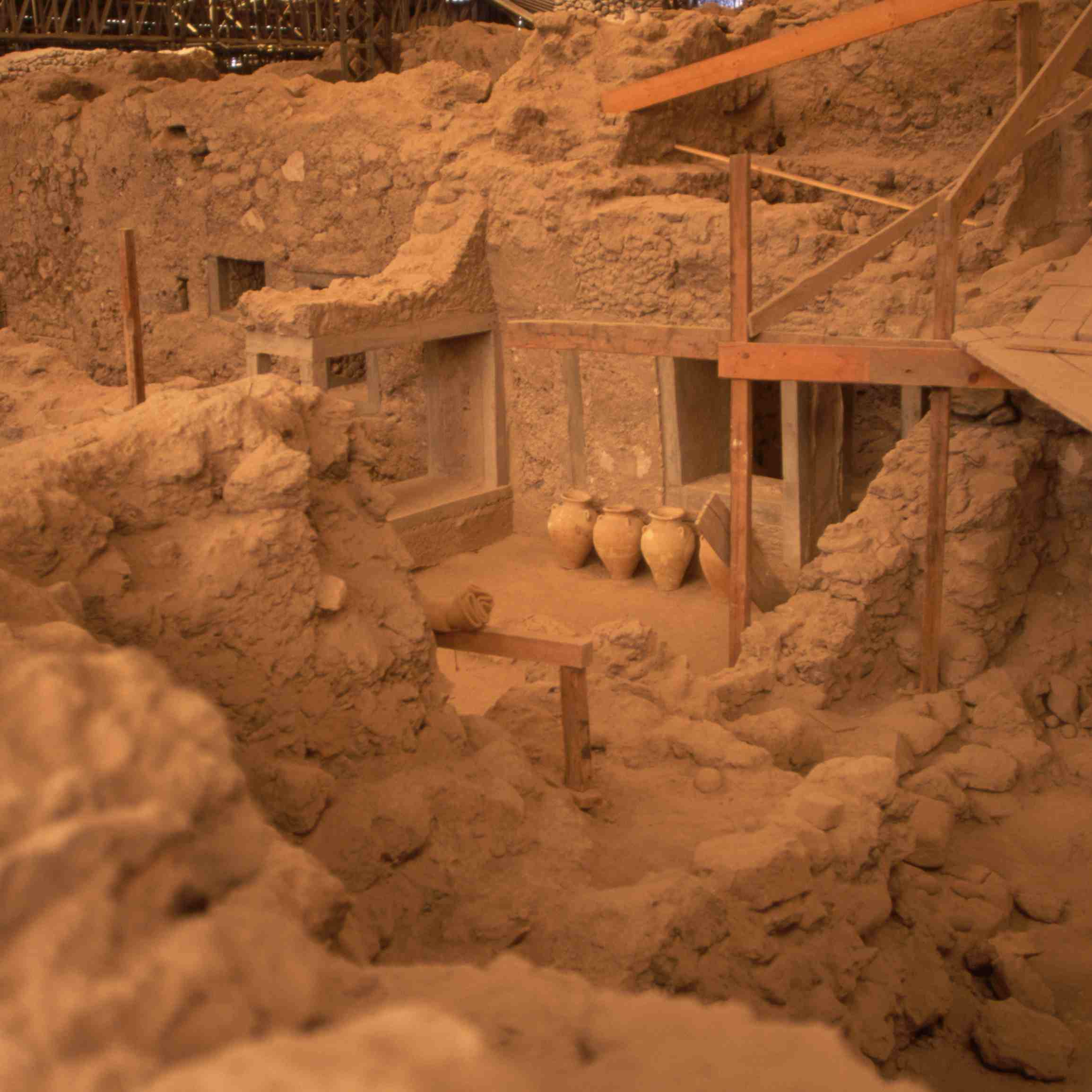 Excavation Area at Akrotiri Archeological Site