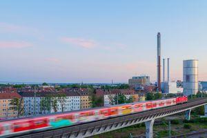 Train on Railroad Bridge Nuremberg Bavaria