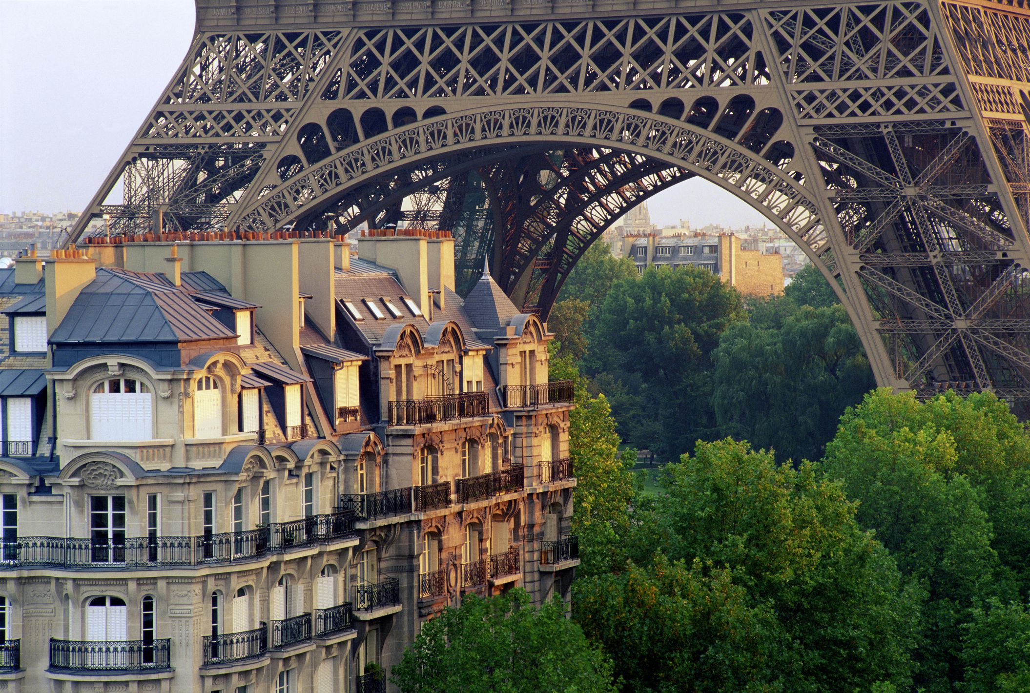 Residential buildings at the foot of the Eiffel Tower, Paris, France