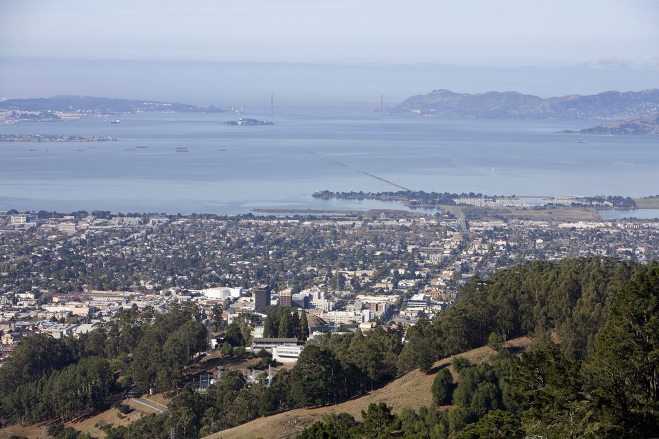 Overlooking the of Berkeley with the water in the background