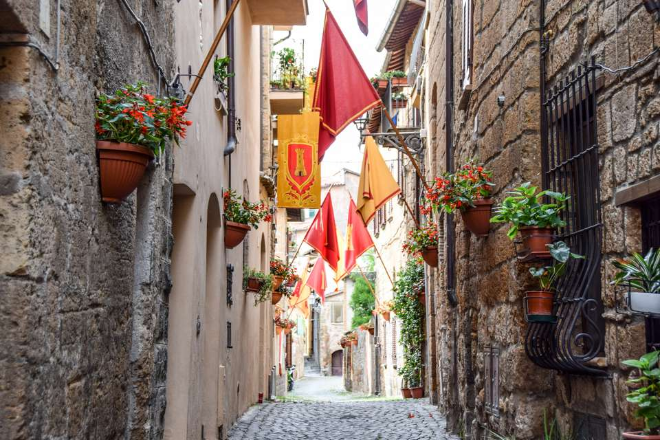 Flags in an alleyway in Orvieto