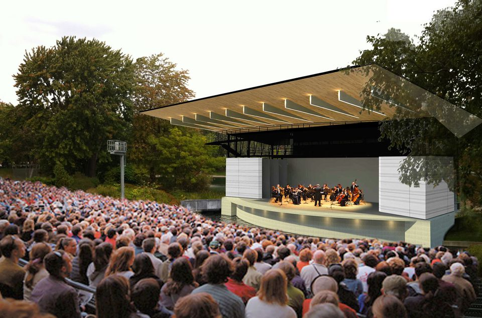 Théâtre de Verdure is an open-air ampitheatre located in Montreal's Parc La Fontaine.