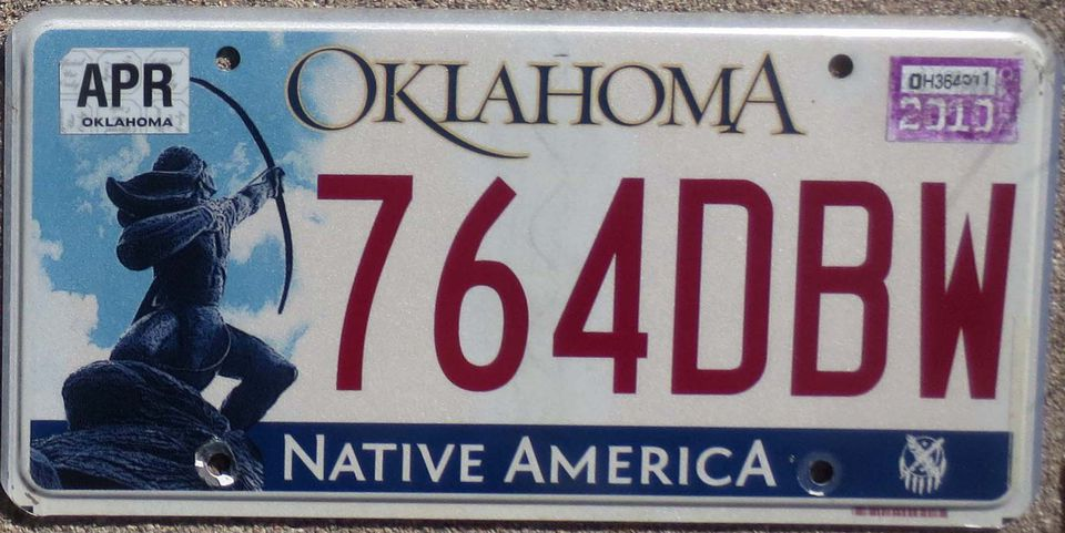 2010 Oklahoma Native America license plate - Sacred Rain Arrow' sculpture