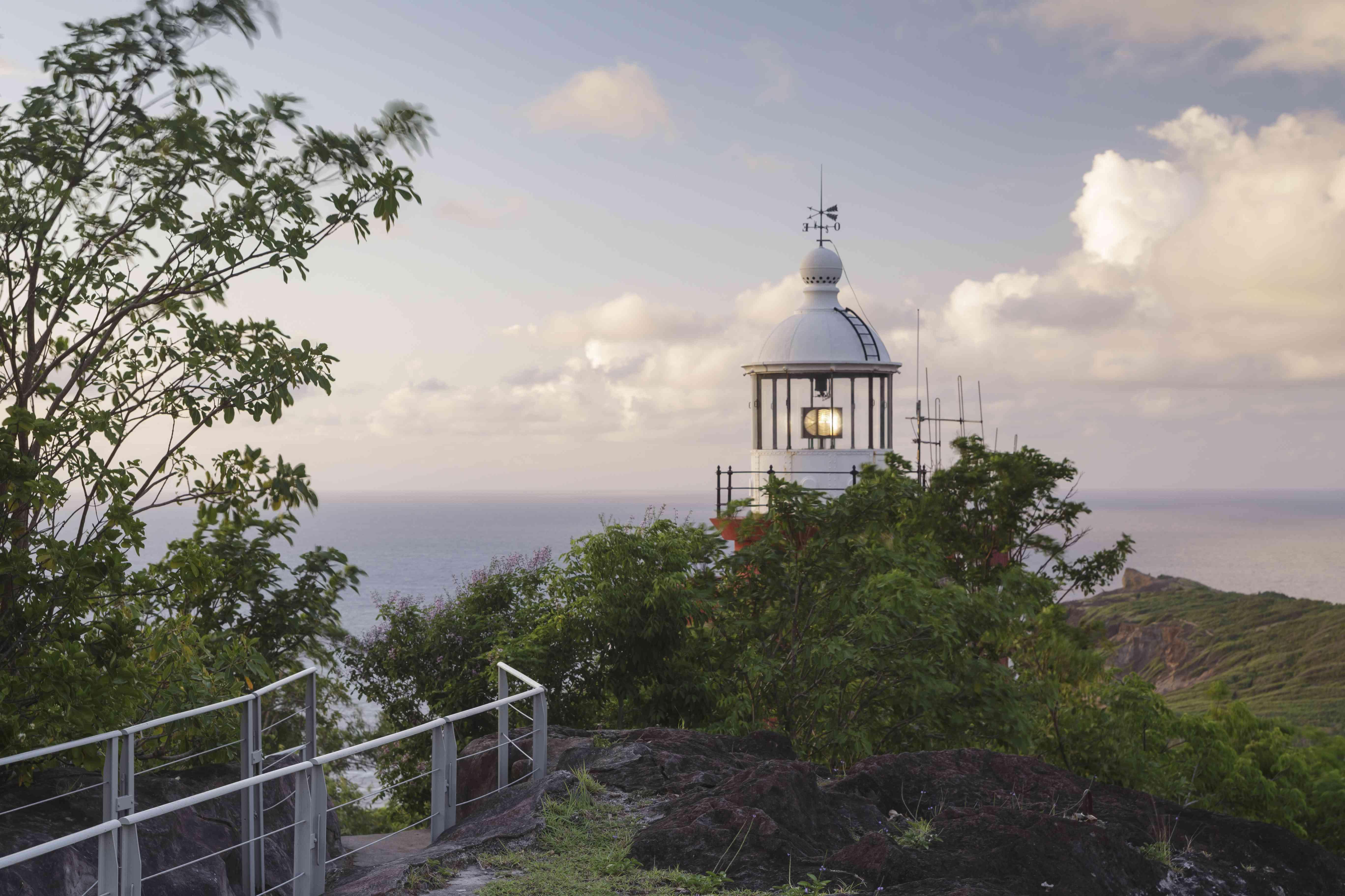 Caravelle Lighthouse on the Cara-Ile de la Caravell, Martinique.