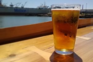 Pint of craft beer by the bay