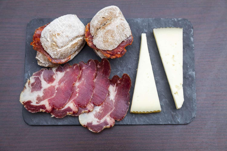 Ham, cheese, and chorizo sandwiches