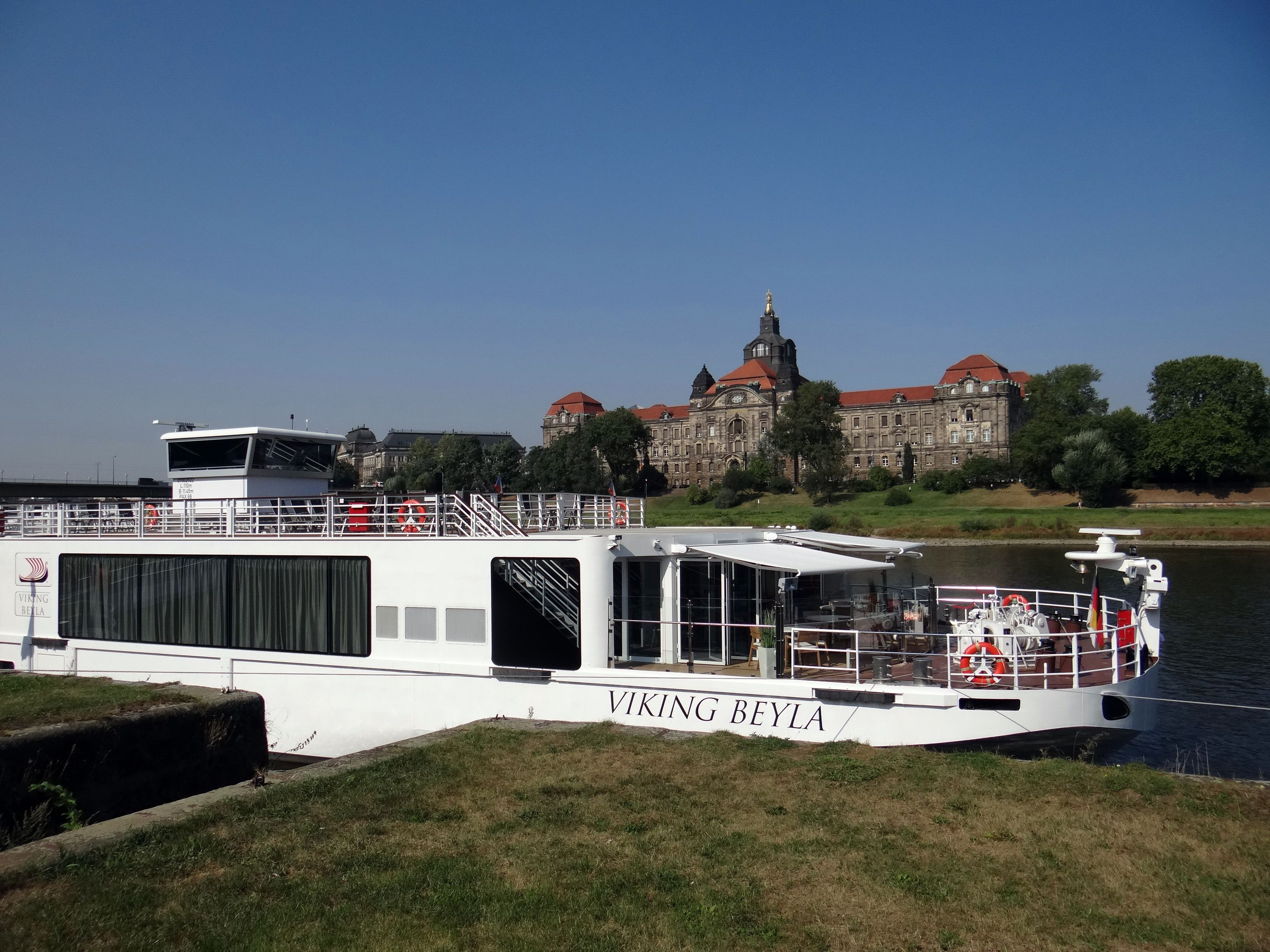 Viking Beyla river cruise ship on the Elbe River in Dresden, Germany