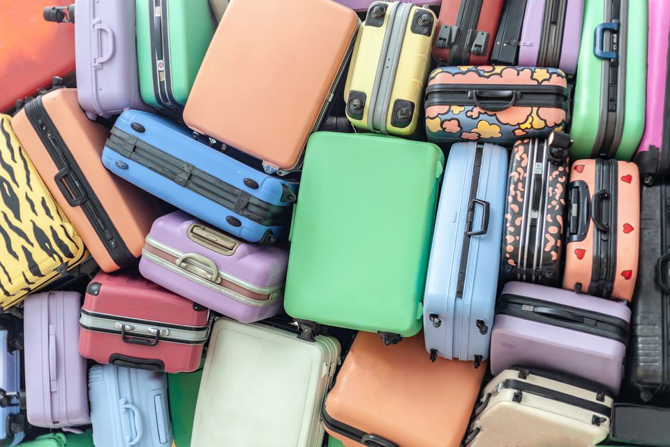 Full Frame Shot Of Colorful Suitcases
