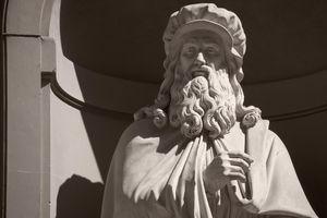 Statue of Leonardo Da Vinci at the Uffizi Gallery Florence Italy