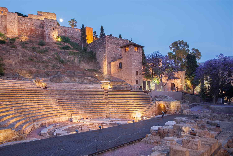 Ancient Roman amphitheater in Malaga, Spain
