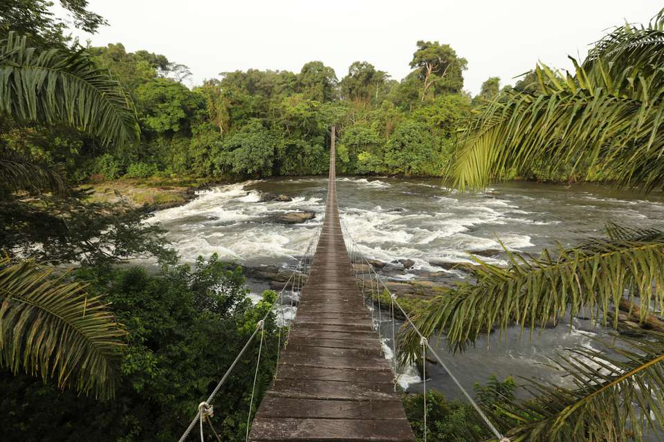 Mana River Foot Bridge, entrance to the Korup National Park