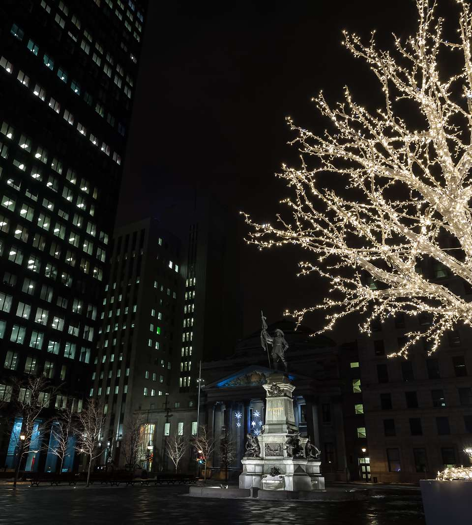 Plaza in Winter, Montreal, Quebec, Canada
