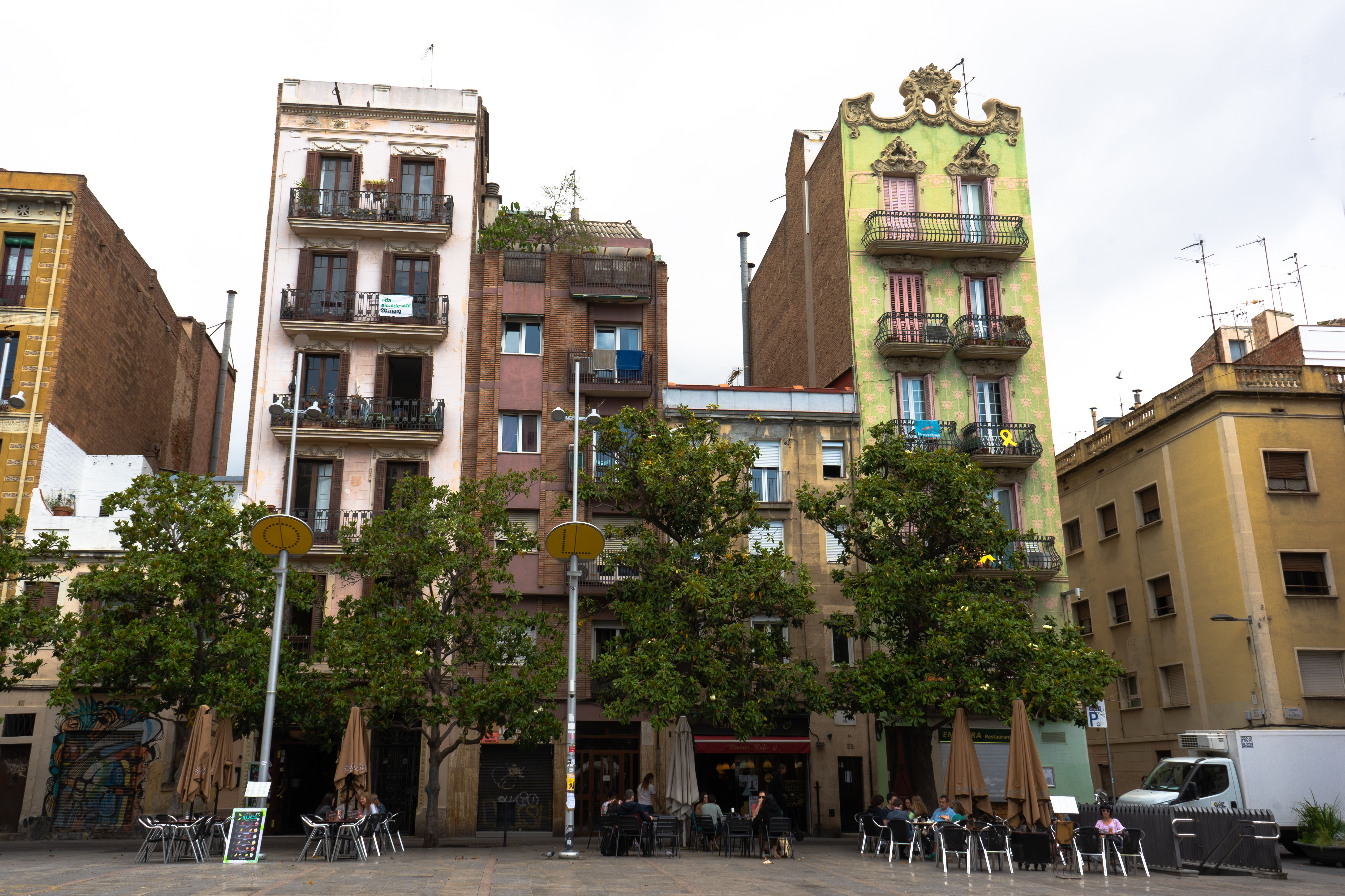 Wide shot of colorful apartment buildings in Plaza del Sol