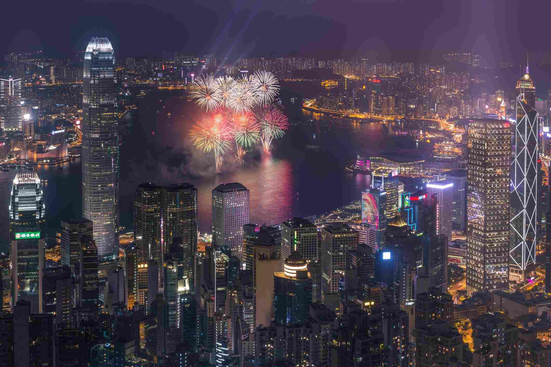 Fuegos artificiales de año nuevo chino de Hong Kong 2016