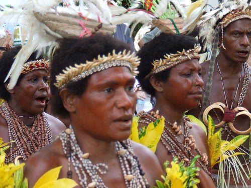 Women Dancers at Singsing in BilBil Village near Madang, Papua New Guinea