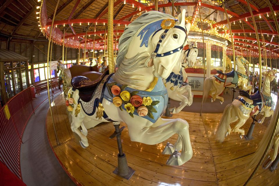 The 1914 Bushnell Park Carousel features hand-carved horses.