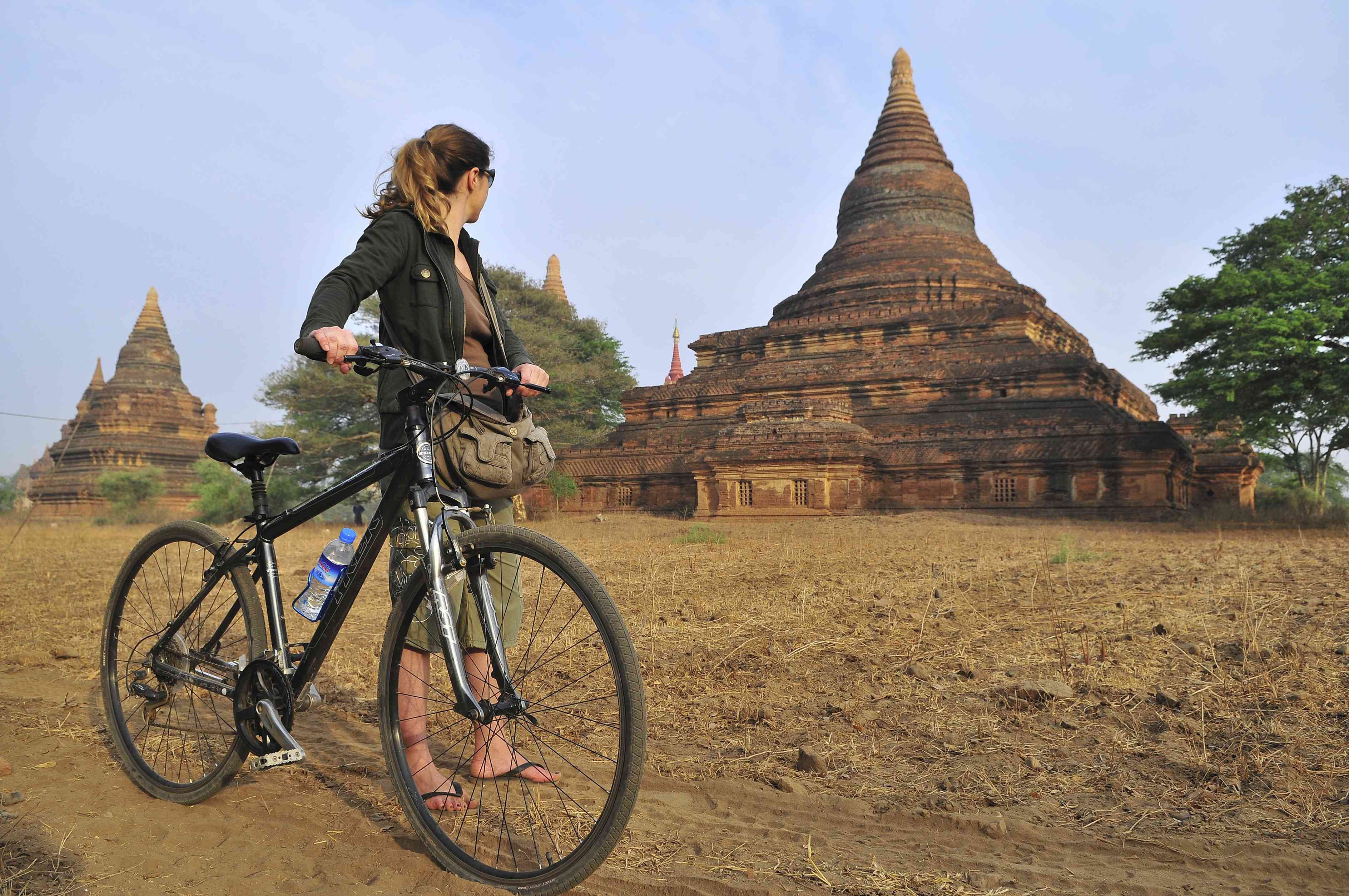 Biking tourist in Bagan, Myanmar