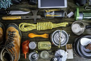Overhead image of different hiking gear